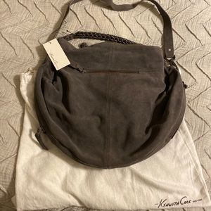 Kenneth Cole Hobo Bag in Grey Suede